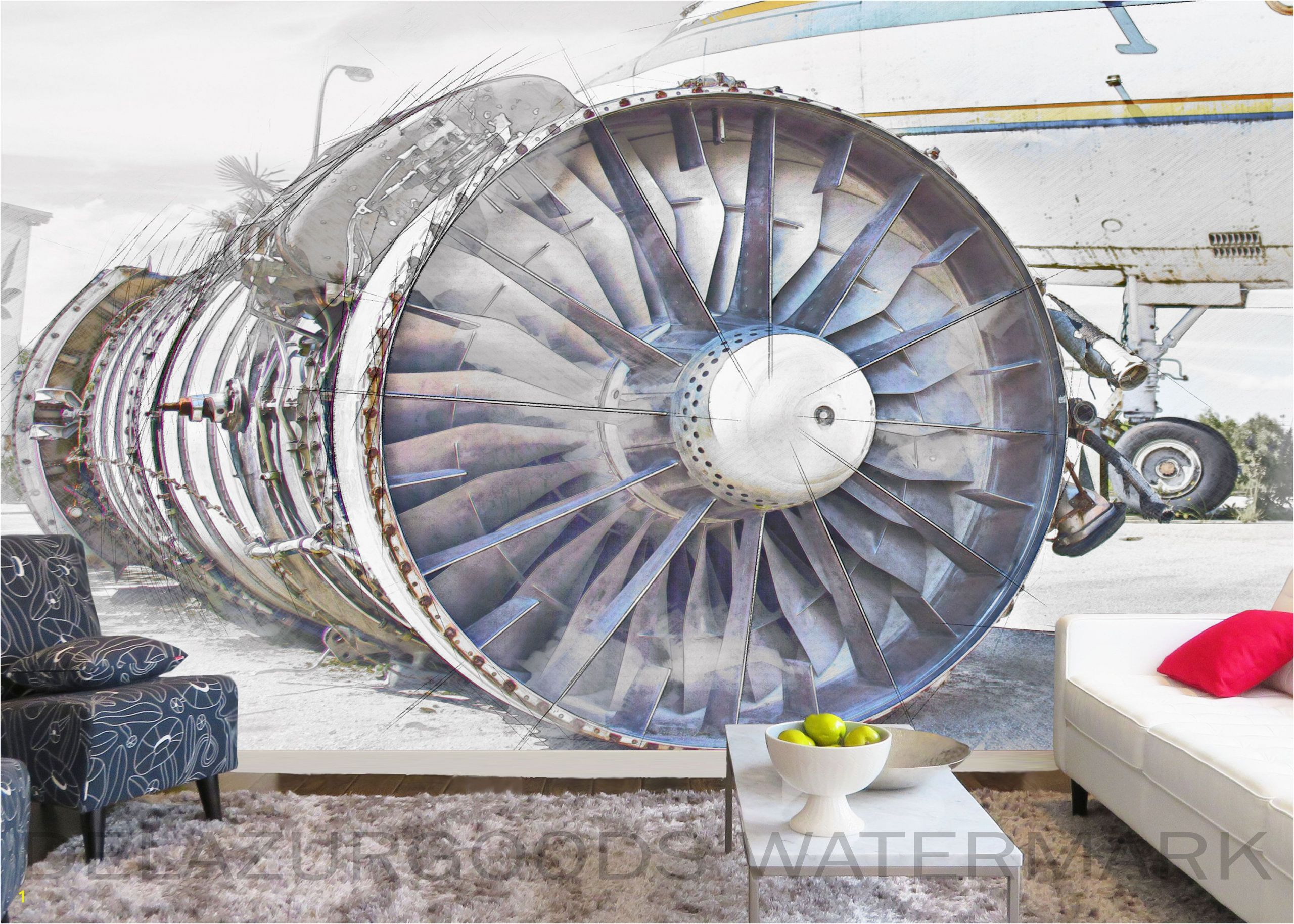 Wall Mural Installation Instructions Airplane Engine Wallpaper Peel and Stick
