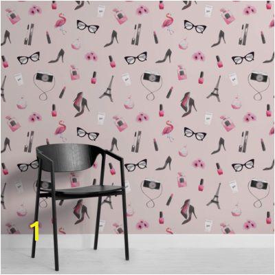 Pink Fashion Illustration Wallpaper Mural Square 400x400