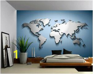 Wall Mural Wallpaper Ebay Details About Peel & Stick Mural Self Adhesive Vinyl Wallpaper 3d Silver Blue World Map