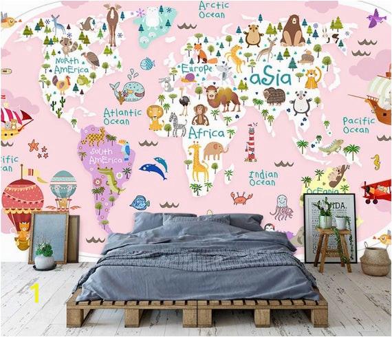 Wall Murals for Baby Boy Nursery Girl Kids Wallpaper Kids Pink World Map Wall Mural Nursery Map Wall Decor Girls Boys Bedroom Wall Art Kindergarten Wall Paint Art Baby Room