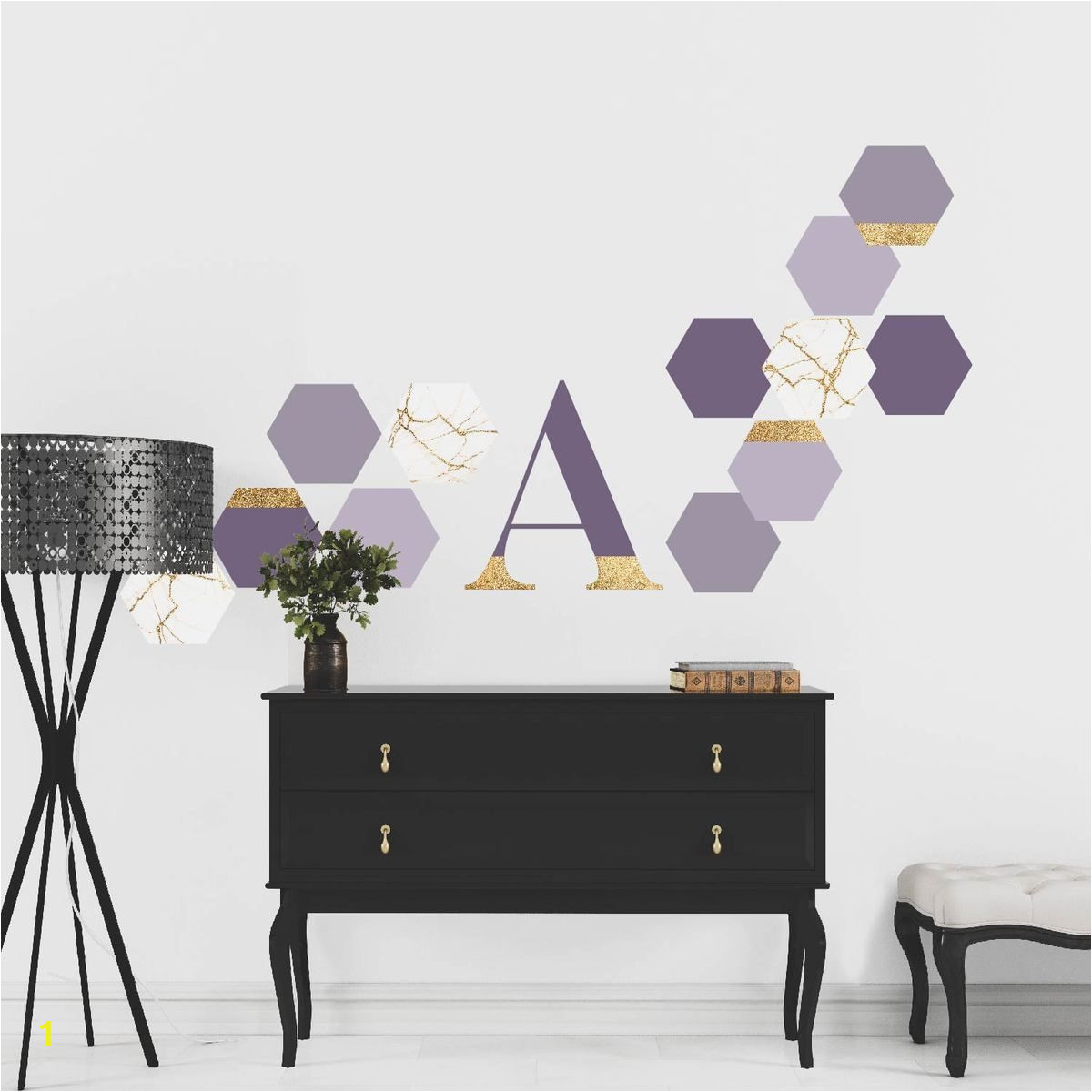 Wall Murals for Dorms Violet Purple Gold and Marble Hexagon Peel and Stick