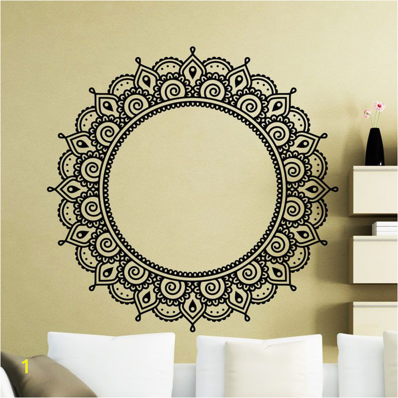 Wall Murals for Living Room India Indian Religious Wall Stickers Mandalas Flower Vinyl Art