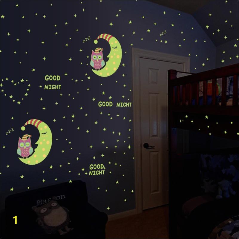Glow In The Dark Owl Moon Stars Luminous Wall Stickers For Kids Rooms DIY Bedroom Art