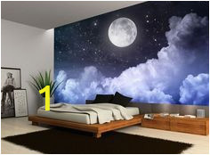 Wall Murals Night Sky Details About Night Sky Moon Clouds Dark Stars Wall Mural