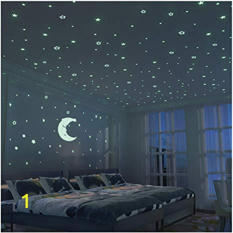 Wall Murals Night Sky Glow In the Dark Stars 300 Pcs & Fluorescent Moon 24cm Kid Bedroom Wall Sticker Diy Room Decoration for Boy Girl Baby House Indoor Wall