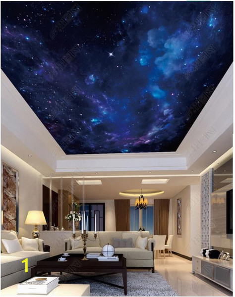 Wall Murals Night Sky wholesale Interior Ceiling 3d Wallpaper Custom Murals Wallpaper Fantasy Night Starry Sky Zenith Ceiling Mural Wall Paper for Walls 3d Sports Wallpaper