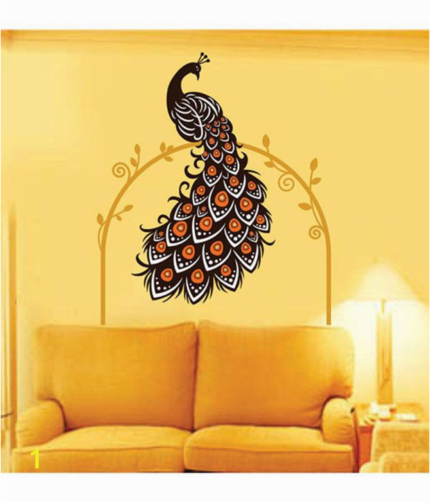 Wall Murals Price In India Stickerskart Wall Stickers Wall Decals Beautiful Peacock On Vine 6907 60×90 Cms