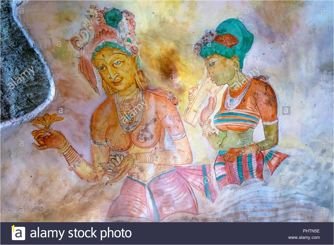 replica of the famous wall paintings at sigiriya sigiriya museum sigiriya sri lanka PHTN5E