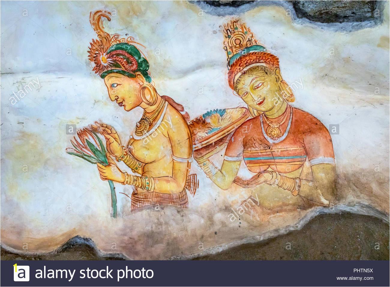 replica of the famous wall paintings at sigiriya sigiriya museum sigiriya sri lanka PHTN5X