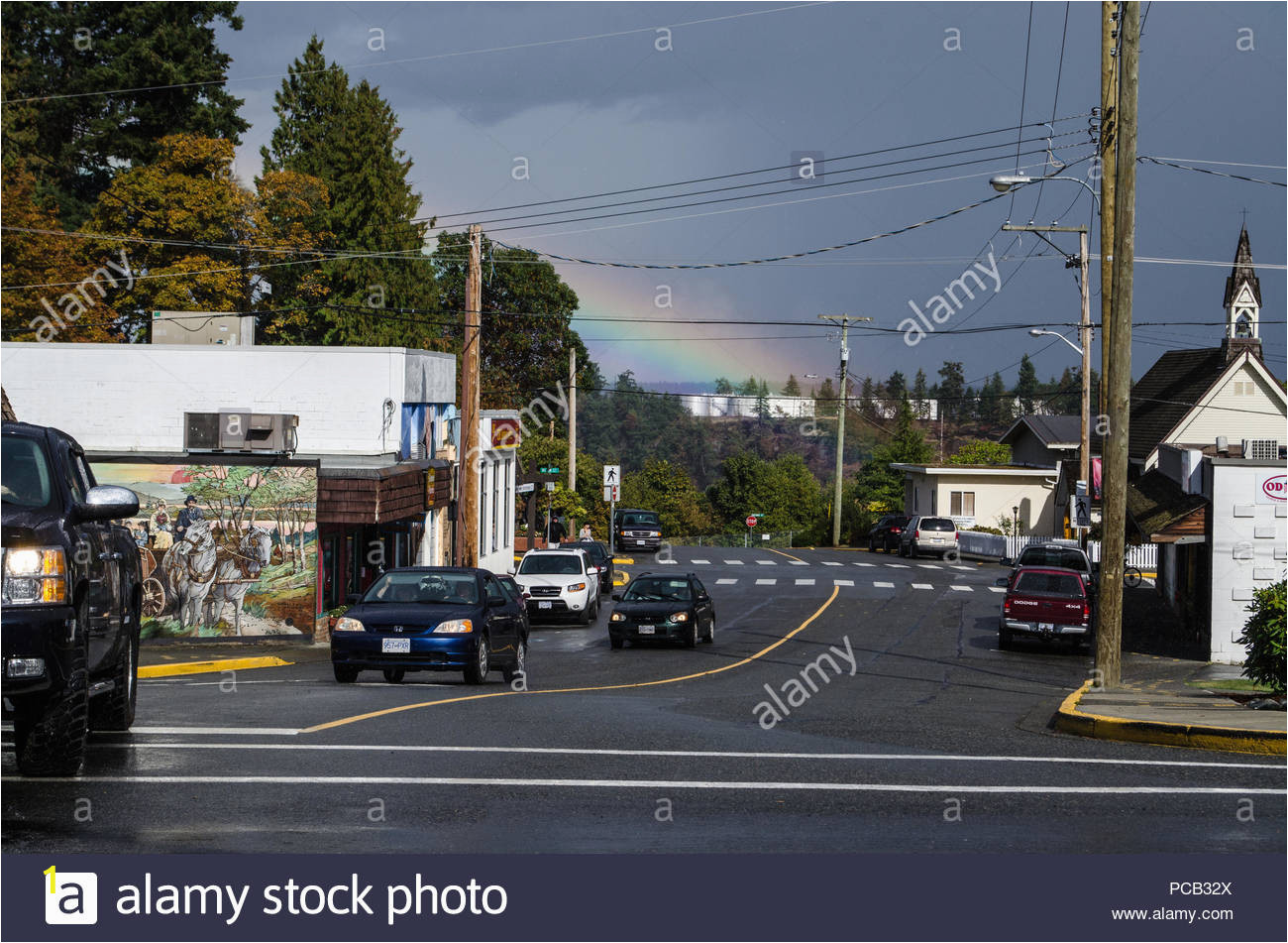 chemainus bc vancouver island canada the town has be e a tourist attraction with its painted murals and wall art PCB32X