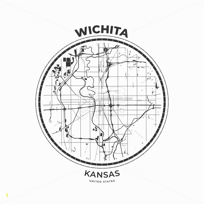 Wall Murals Wichita Ks T Shirt Map Badge Of Wichita Kansas