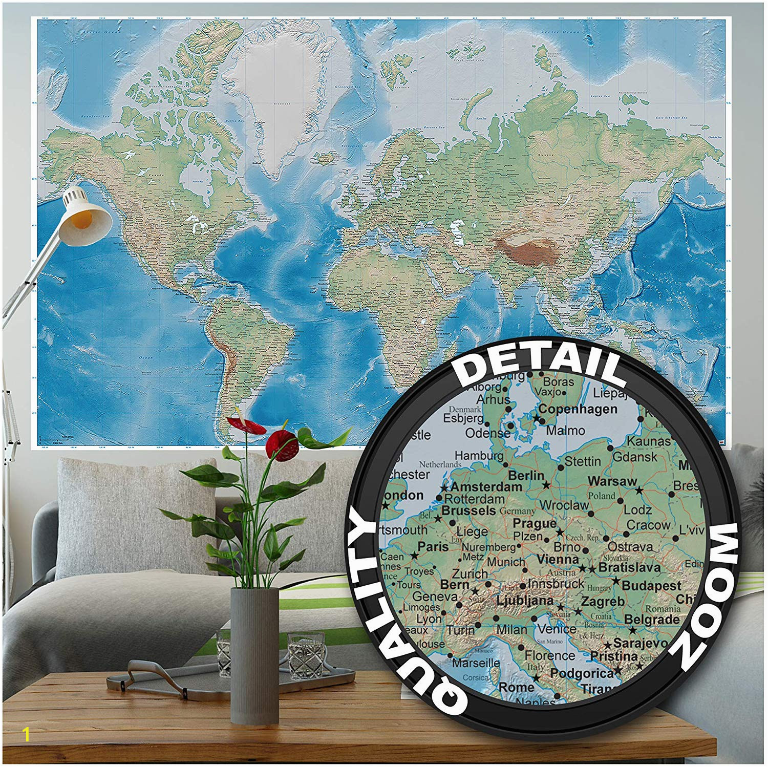Wall Size World Map Mural Mural – World Map – Wall Picture Decoration Miller Projection In Plastically Relief Design Earth atlas Globe Wallposter Poster Decor 82 7 X 55