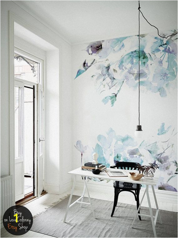 Walls are for Murals Blue Vintage Spring Floral Wallpaper Watercolor Wallpaper