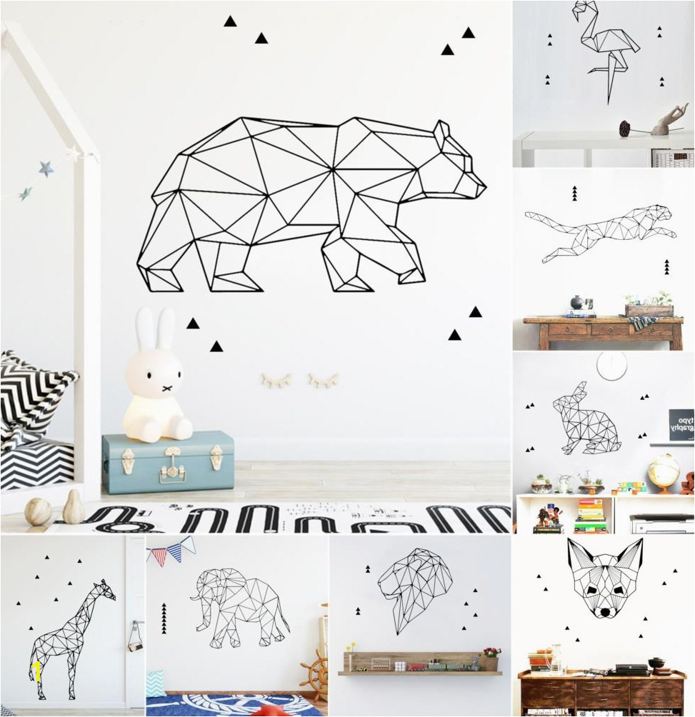 Art Geometry Animals font b Wall b font font b Stickers b font For Room Decoration