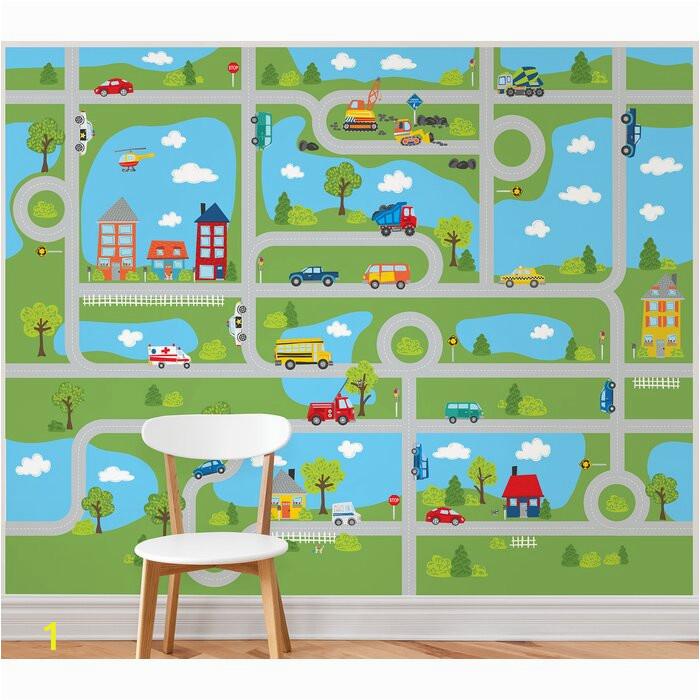 "Tyngsborough Road Map Peel And Stick 9 83 L x 94"" W Wall Mural"