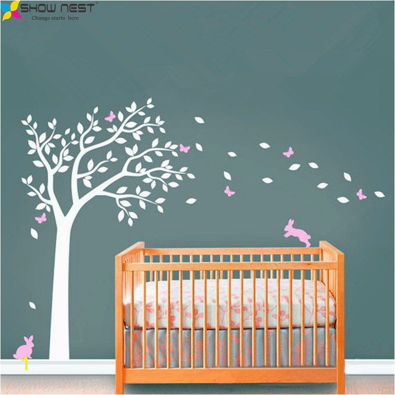 White Tree Wall Mural Huge White Tree Decal with Cute Rabbit and butterflies Vinyl