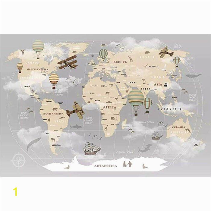 Pennie Vintage World Map Hot Air Balloon Textile Texture Wall Mural