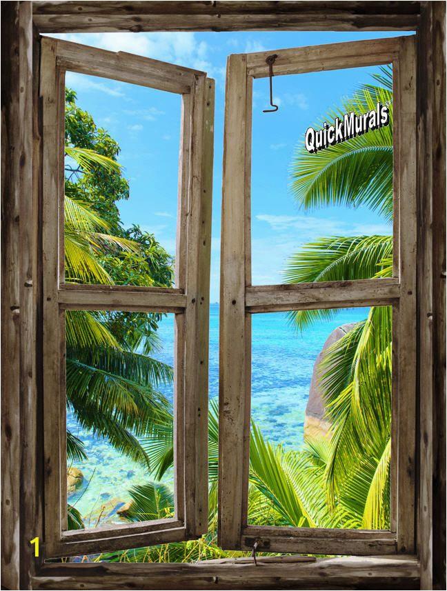Window Murals for Walls Beach Cabin Window Mural 8 E Piece Peel and Stick Canvas