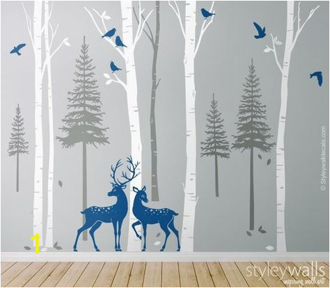 Winter Trees Wall Mural Birch Trees Fir Trees Pine Trees with Deers Wall Decal