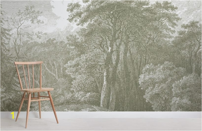 green tree forest etching wallpaper mural Room 820x532