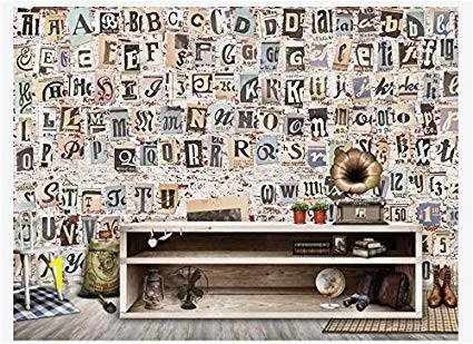 Wood Effect Wall Murals 3d Wallpaper Mural Old Newspaper torn Paper English Alphabet