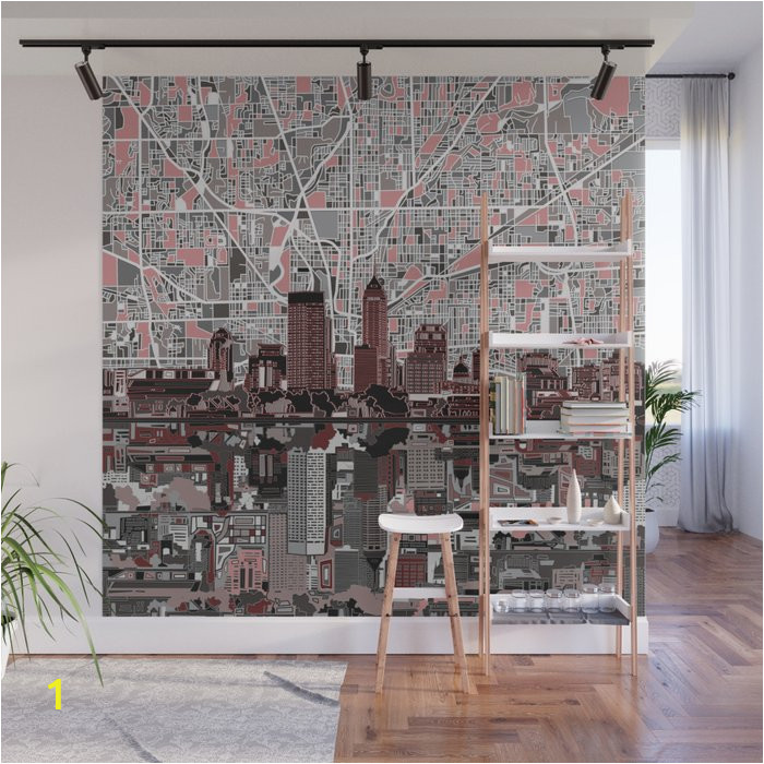 indianapolis city skyline grey wall murals