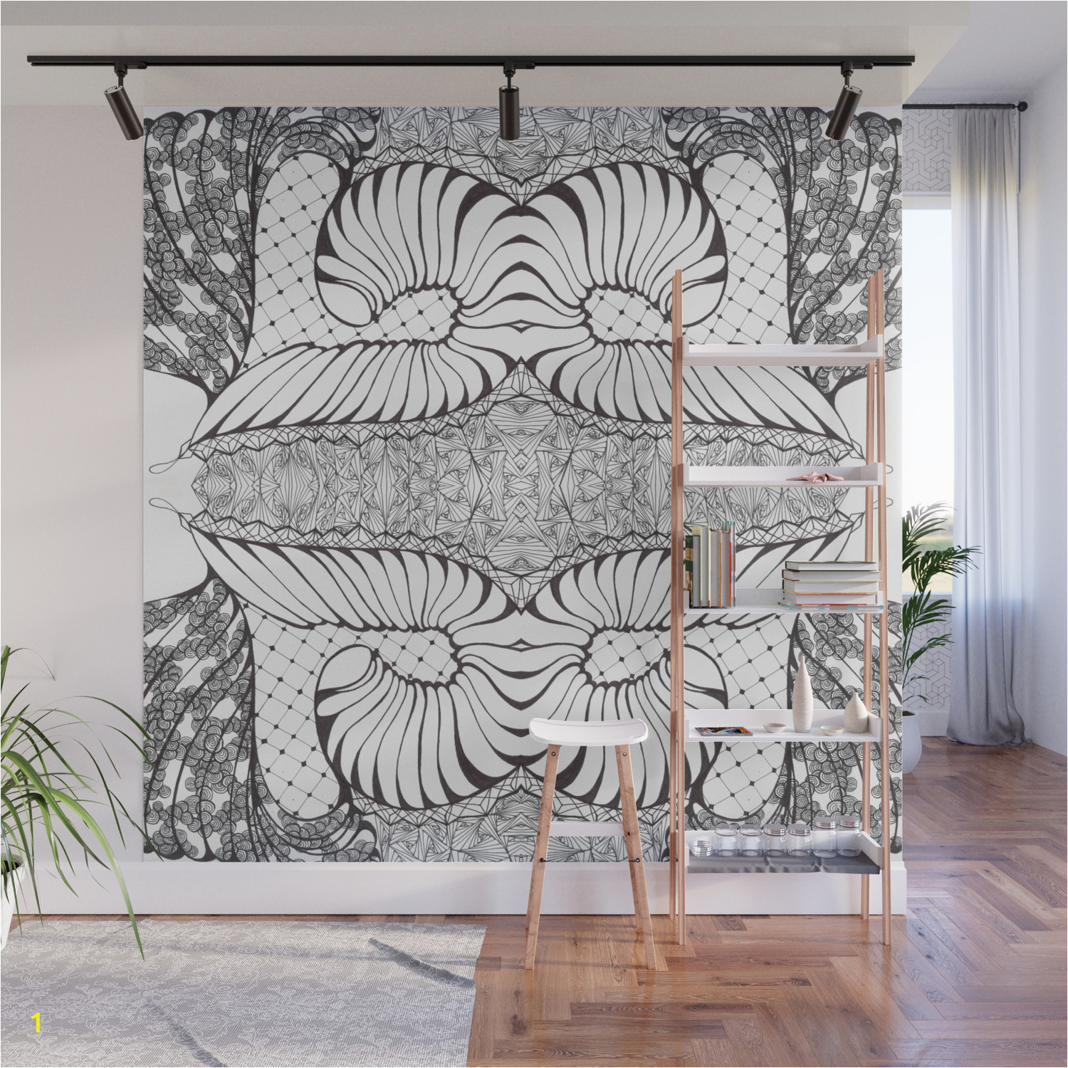 black and white zen doodle wall murals