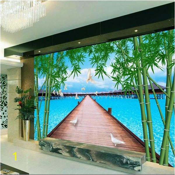 Wooden Murals Wall Hanging Custom 3d Room Wallpaper Mural Wooden Bridge Bamboo Sea Picture Mural Modern Art Creative Living Room Hotel Study Backdrop Wallpaper Download