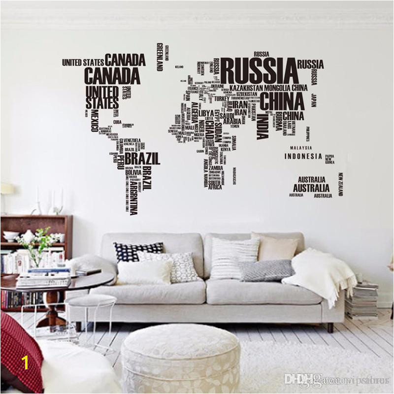 big letters world map wall sticker decals