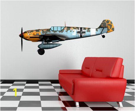 World War 2 Wall Murals World War 2 Airplane Messerschmidt Bf 109 Wall Decal Vinyl