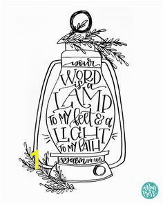Your Word is A Lamp Unto My Feet Coloring Page Bible Verse Calligraphy