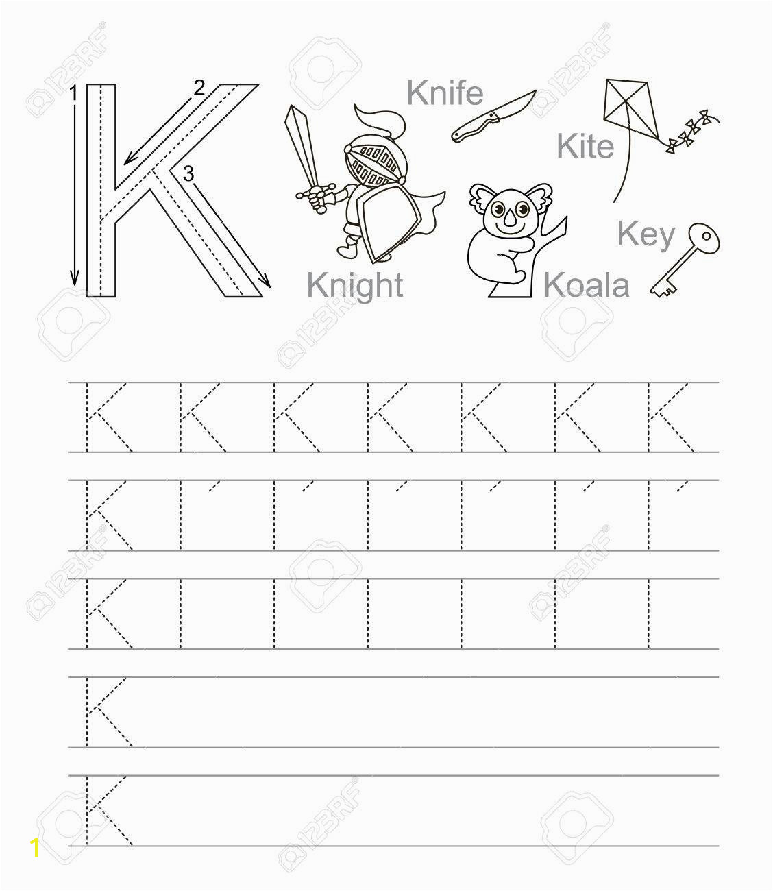 Alphabet Coloring and Tracing Worksheets Vector Exercise Illustrated Alphabet Learn Handwriting Tracing