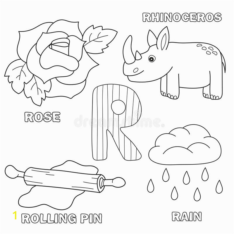alphabet letter letters r coloring book kids pictures rose rolling pin rain rhino