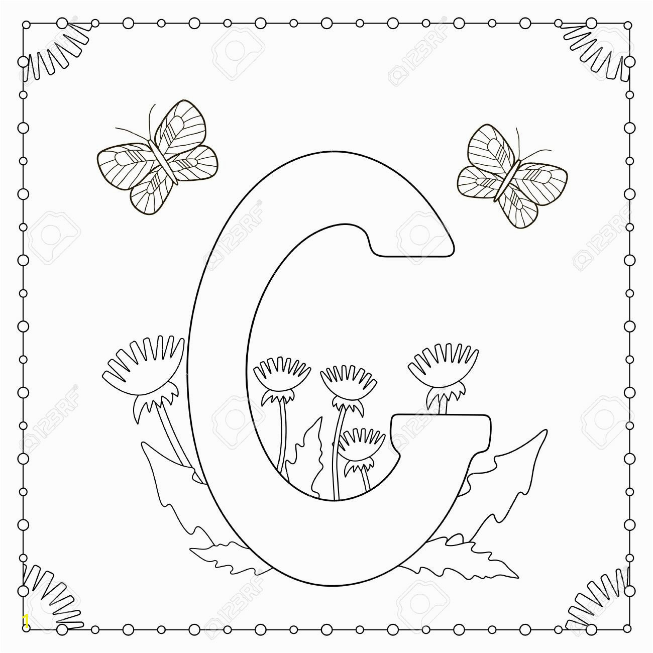 alphabet coloring page capital letter g with flowers leaves and butterflies vector illustration
