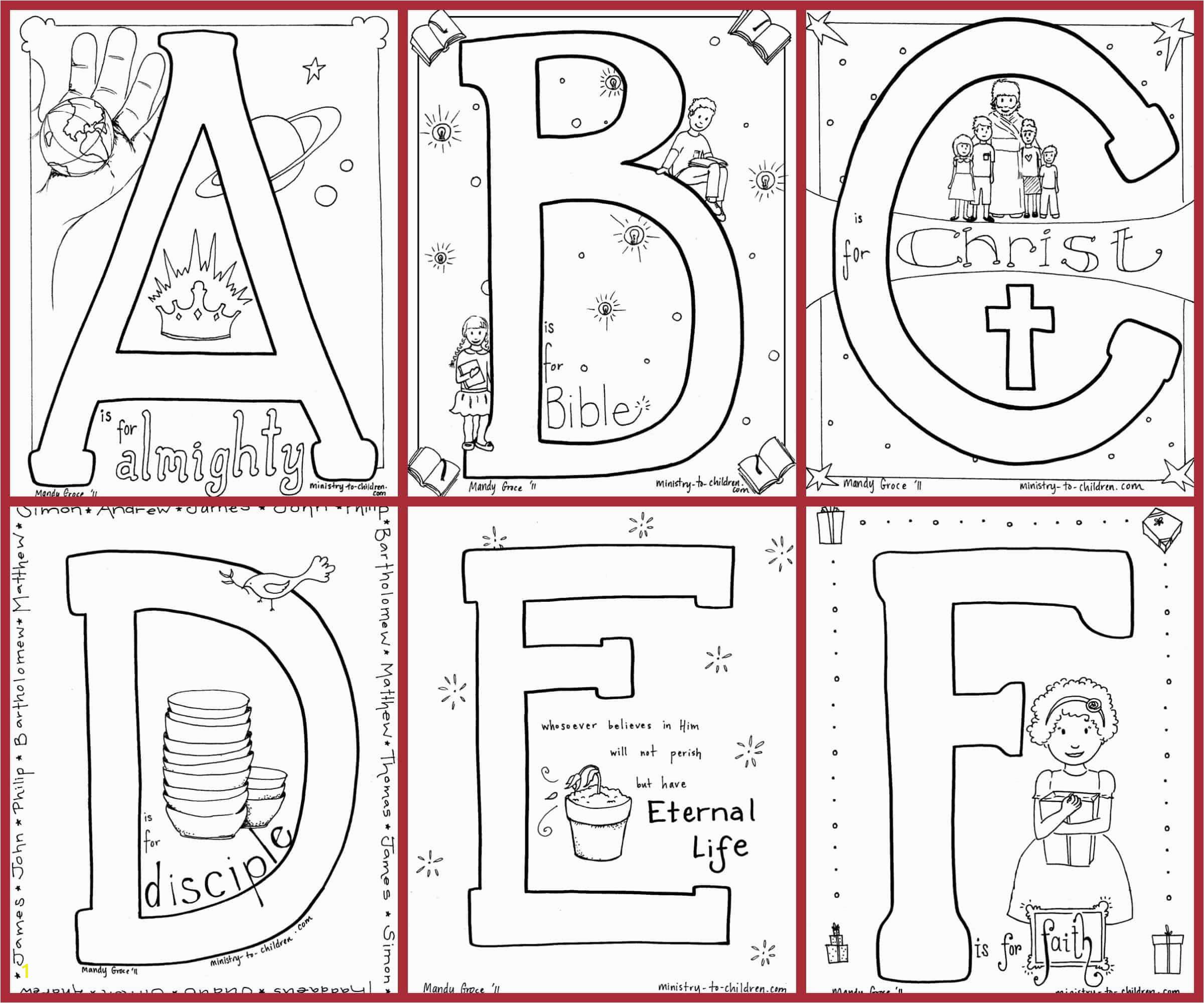 bible alphabet coloring pages