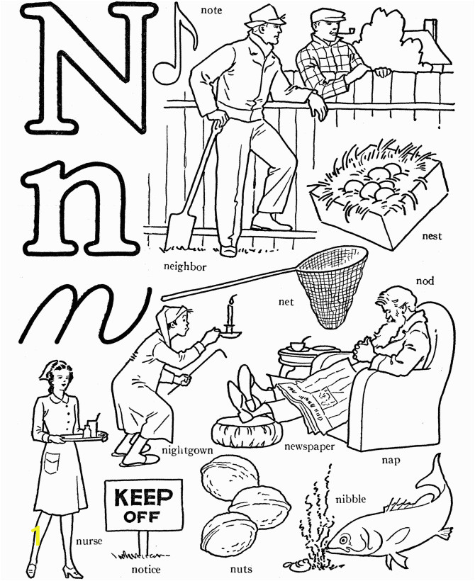 Alphabet Coloring Pages Letter N Alphabet Words Coloring Activity Sheet