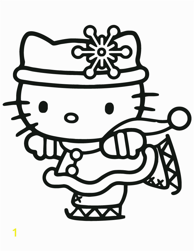 Ice Skating Hello Kitty Coloring Page