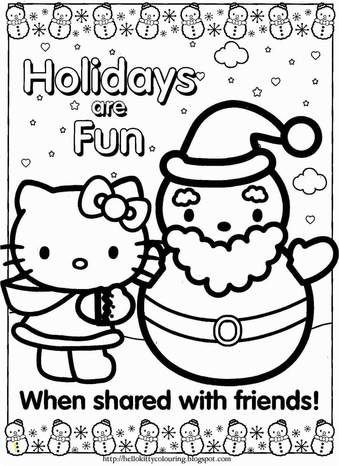 Christmas Coloring Pages Hello Kitty Printable Happy Holidays Hello Kitty Coloring Page