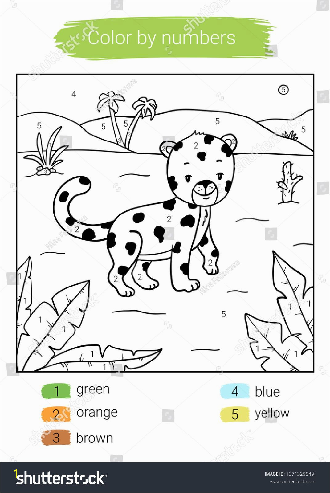 Color by Number Coloring Book Game Color by Number Leopard Educational Children Game Coloring
