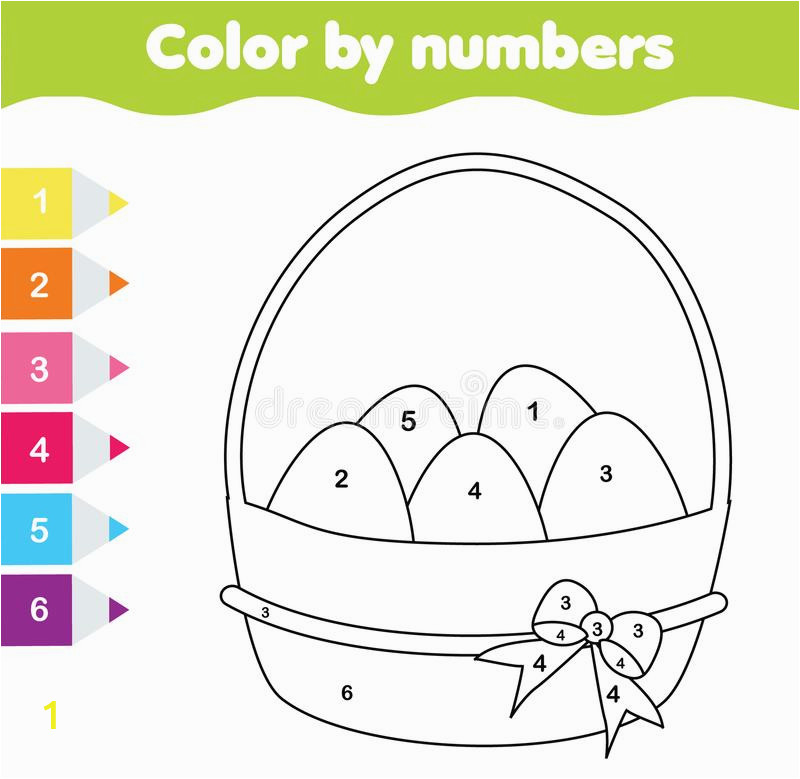 easter drawing game color numbers printable worksheet coloring page easter eggs educational game toddlers kids