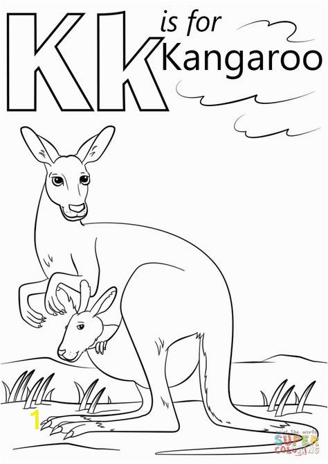 Color by Number Kangaroo Coloring Page Letter K is for Kangaroo Preschool Coloring Page Free