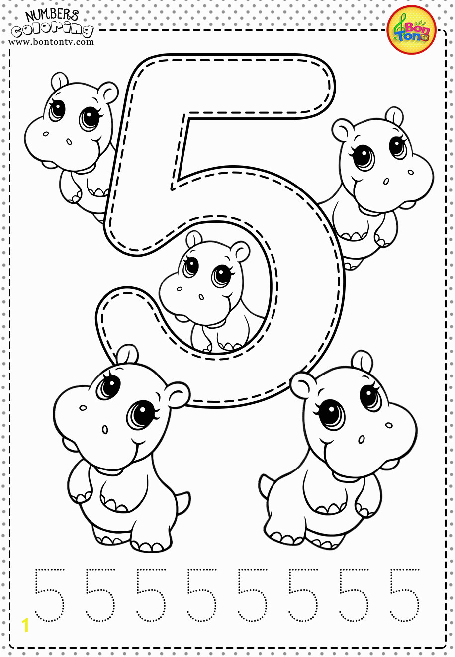 Coloring Number Pages for Kindergarten Number 5 Preschool Printables Free Worksheets and