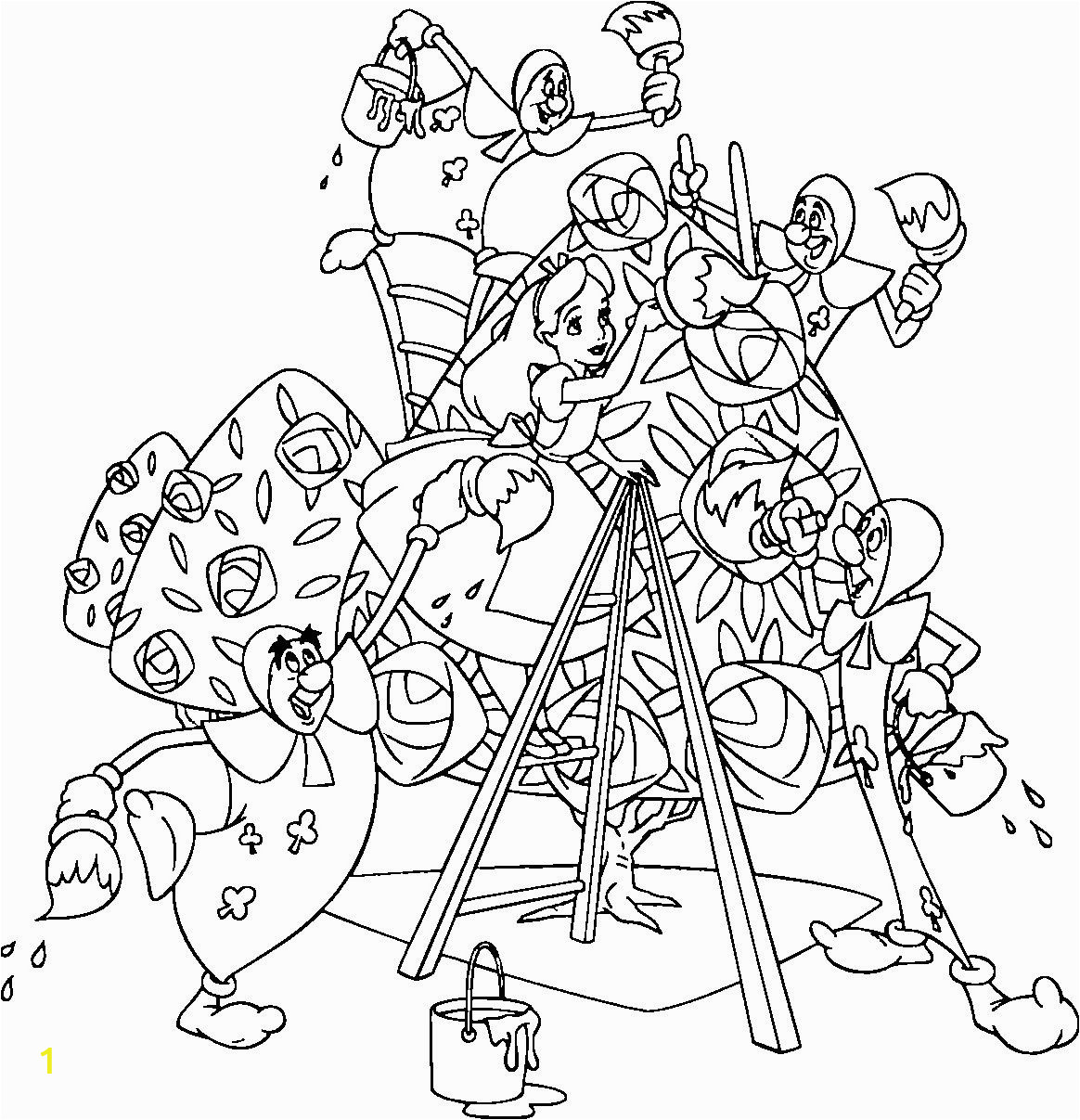 Coloring Pages Disney Alice In Wonderland Alice and Wonderland Club Cards Coloring Pages