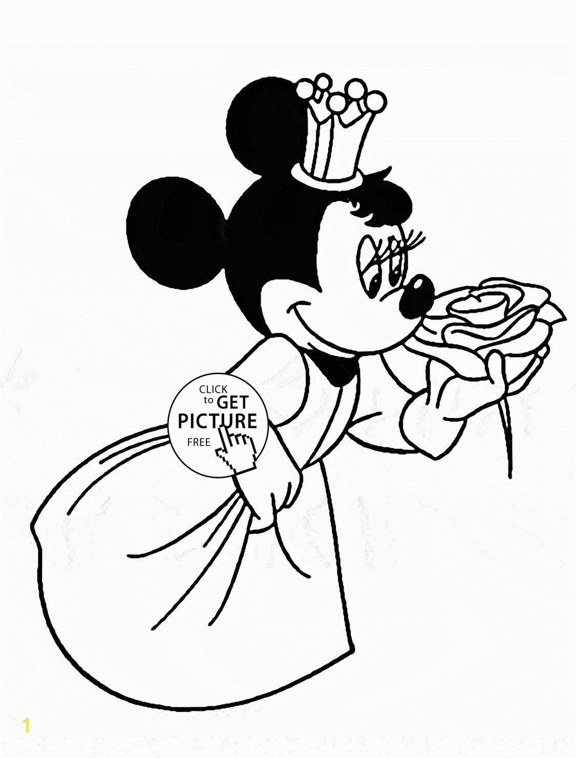 Coloring Pages Disney Minnie Mouse Minnie Mouse Princess Disney Coloring Page for Kids for