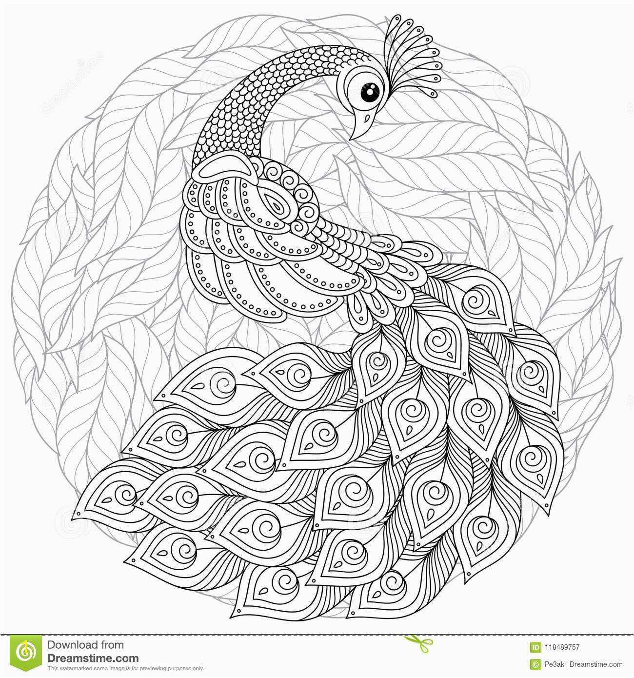 peacock zentangle style adult antistress coloring page black white hand drawn doodle book