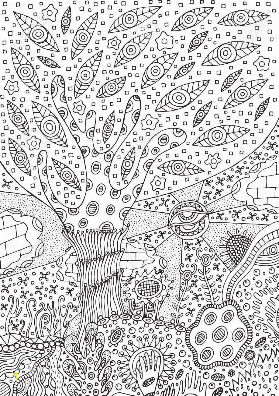 malvorlage mit surrealer landschaft baum blume und himmel vector zentangle illustration für erwachsene od