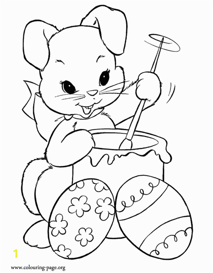 Coloring Pages for Easter Bunny Look This Cute Bunny is Coloring Easter Eggs they are