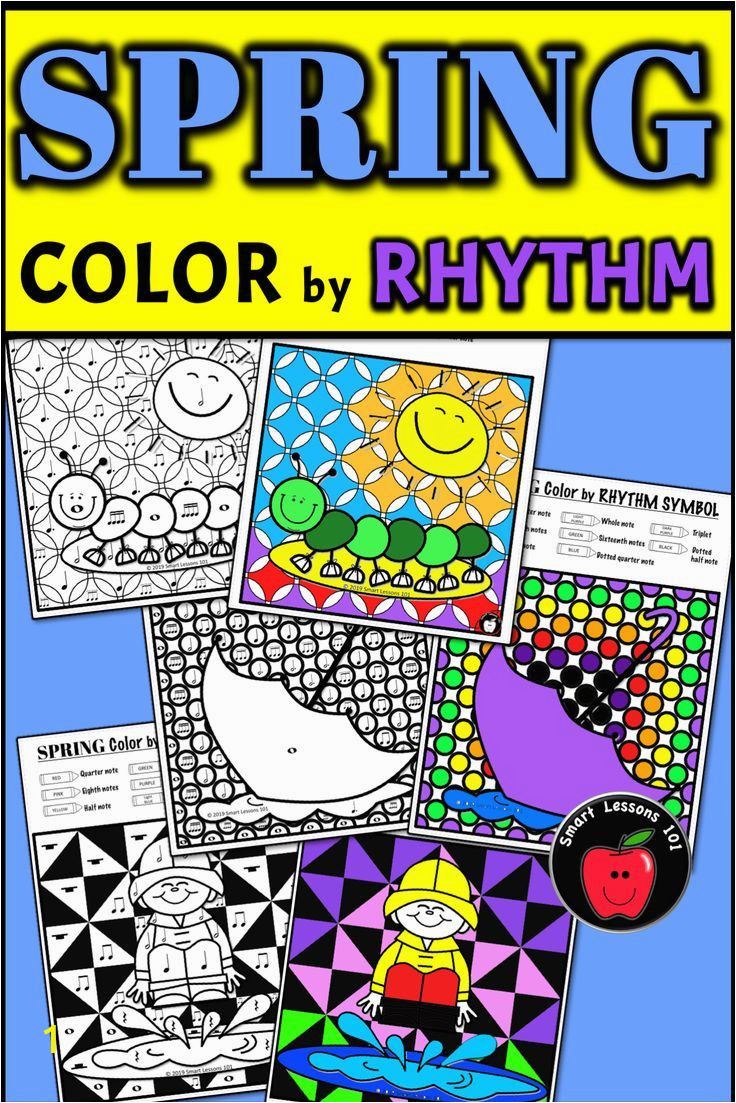 Coloring Pages for Elementary Students Distance Learning Spring Music Color by Code Worksheet Note