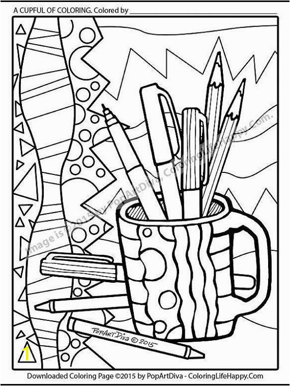 "Coloring Pages for Gel Pens A Cup Full Coloring"" Featuring the Colored Oencils"