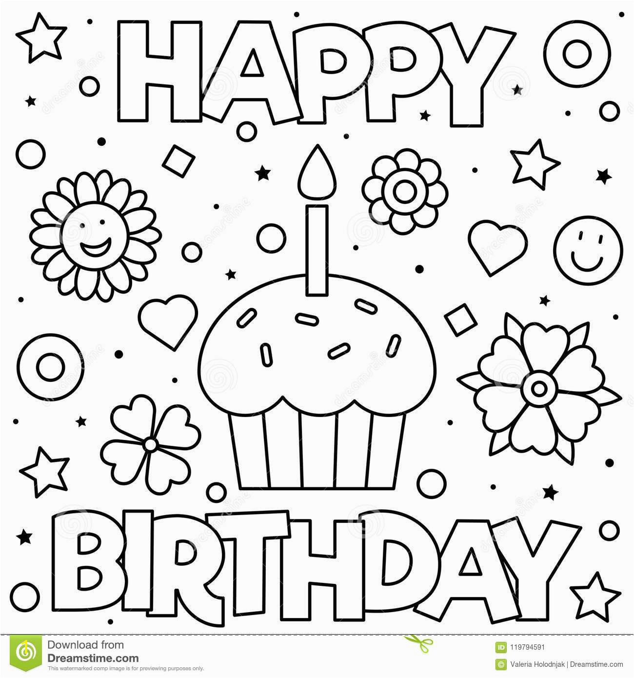 happy birthday coloring page black white vector illustration coloring page vector illustration